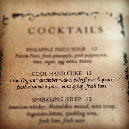 Colonie cocktail menu