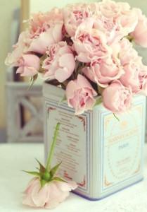 tea tin flower vase